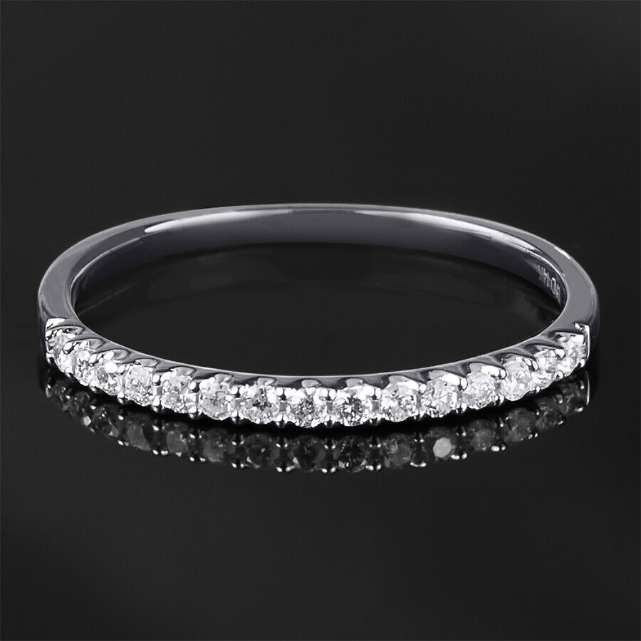 Womens 1/6 CT Stackable Wedding BAND Anniversary RING White