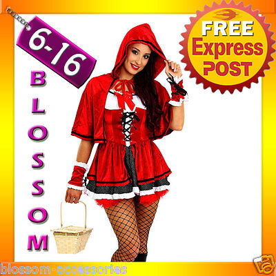 F43 Ladies Little Red Riding Hood Party Fancy Dress Up Halloween Costume Outfit ()