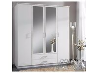 CLASSIC OFFER *** EXPRESS DELIVERY== BRAND NEW 3 DOOR OSAKA WARDROBE IN WHITE AND WALNUT WITH MIRROR