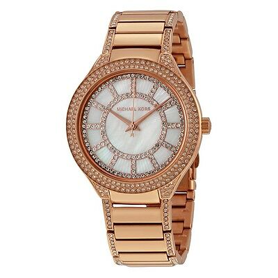 Michael Kors MK3313 Rose Gold Tone Kerry Mother of Pearl Crystal Wrist Watch