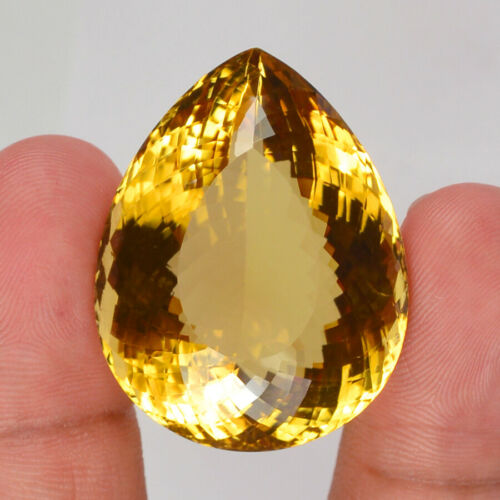 97.35 Cts Natural Certified Golden Citrine Pear Shape Loose Gemstone