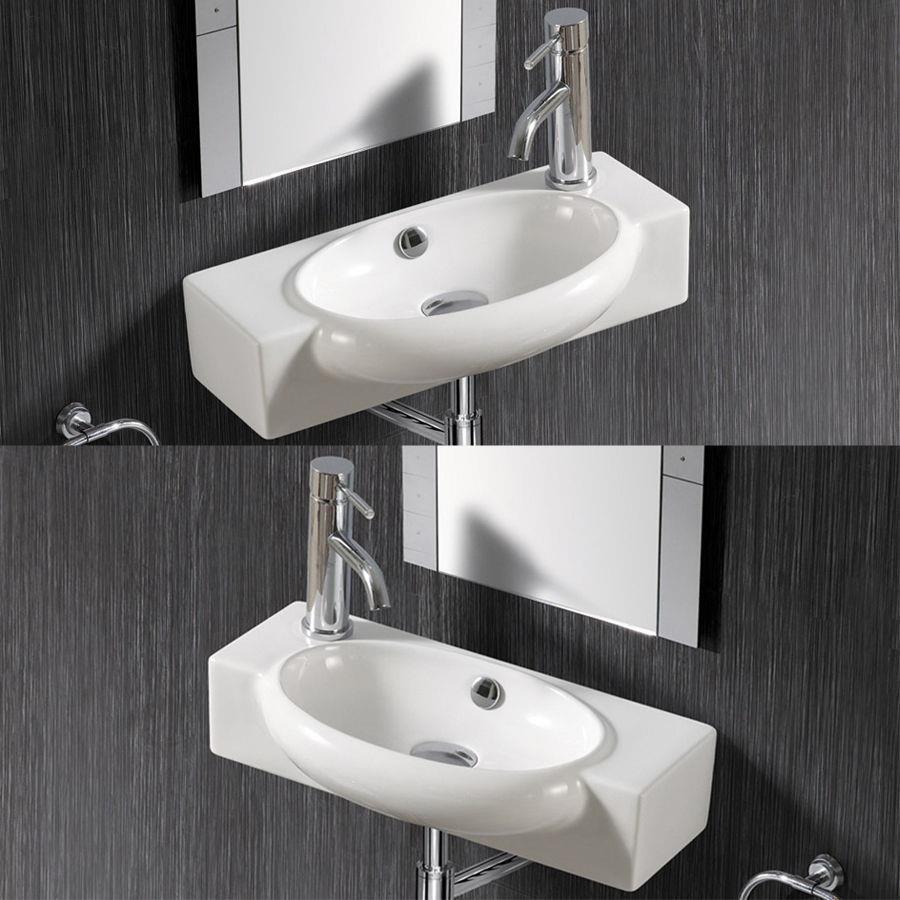 klein Gäste WC Waschtisch Waschbecken Handwaschbecken Wandmontage 50 x 12 cm