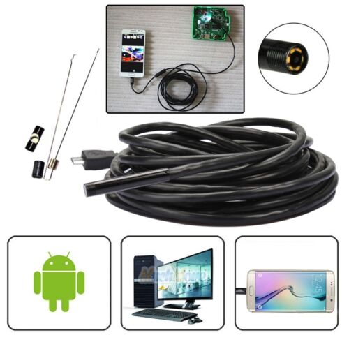 5M Android Endoscope 5.5mm 6 LED USB Waterproof Borescope Inspection Camera NEW