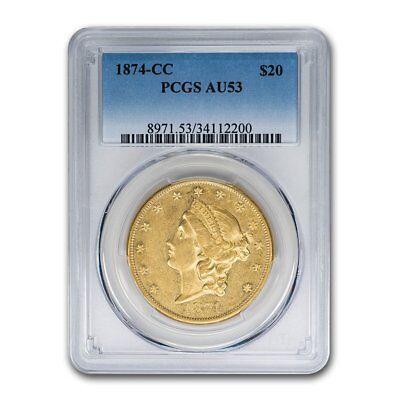1874-CC $20 Liberty Gold Double Eagle AU-53 PCGS - SKU#157406