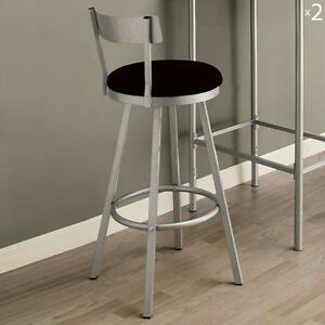 Monarch Specialties 2332 Swivel Barstool W/ Low Back In Silver [Set Of 2]  Brand New