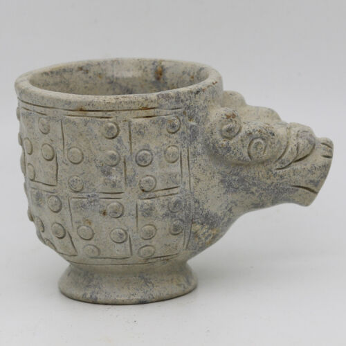 Chinese Oriental culture hand carved jade cup with grains beast head handle C959