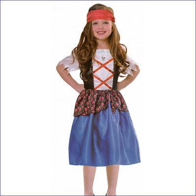 PIRATEN KOSTÜM MÄDCHEN Seeräuber Kleid Kinder Karneval Fasching Gr. 110/116 2876 (Kind Räuber Kostüm)