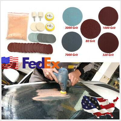 USA Stock 34 X Car Deep Scratch Remover Glass Kit+2'' Wheel+Cerium Oxide Powder ()