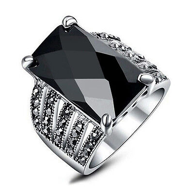 Modern chic elegant black onyx marcasite ring women ring jewelry gift for her! Elegant Marcasite Ring