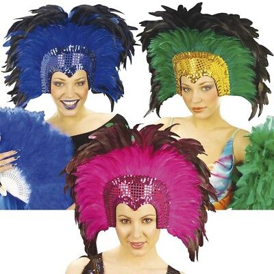 Kostüme Kopfschmuck (KARNEVAL FEDERKOPFSCHMUCK # Federschmuck Feder Kopfschmuck Brasilien Kostüm 6609)