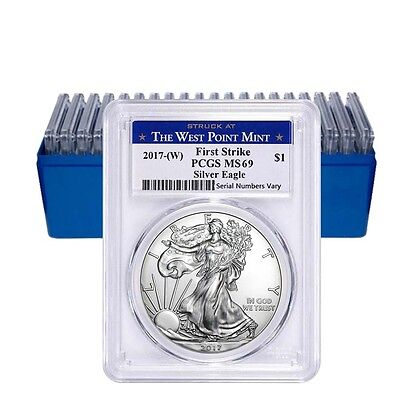 PRESALE - Lot of 20 - 2017-W 1 oz Silver American Eagle $1 Coin PCGS MS 69 First