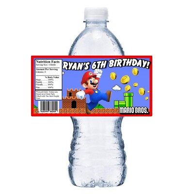 20 MARIO BROS BROTHERS CUSTOM BIRTHDAY PARTY FAVORS WATER BOTTLE LABELS WRAPPERS (Mario Bros Party Favors)