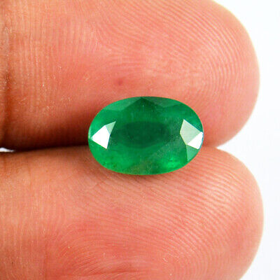 2.40 Ct Top Luster Natural Certified Colombian Green Emerald Oval Loose Gemstone