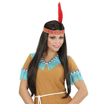 SCHWARZE INDIANERIN PERÜCKE # Kopfband & Feder Indianer Frau Kostüm Party (Indianer Frau Kostüm)