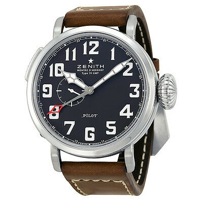 Zenith Pilot Automatic Black Dial Leather Strap Mens Watch 03.2430.693/21.C723