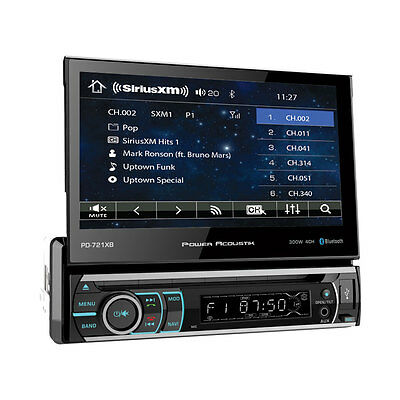 "Power Acoustik PD-721XB 1 DIN DVD Player 7"" Flip Up Out LCD Bluetooth Sirius XM"