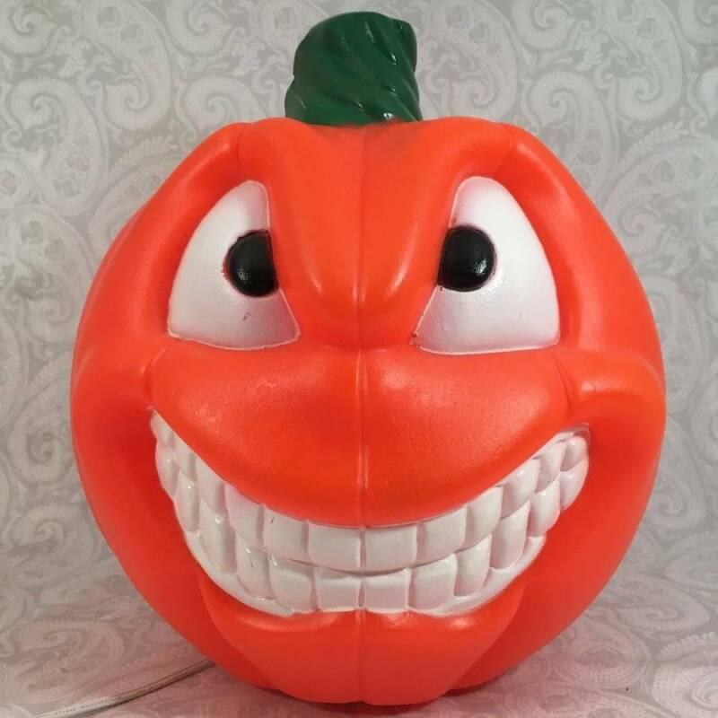 """Empire 2 Two Faced Double Sided Light up 13"""" Blow Mold Jack O Lantern Pumpkin"""