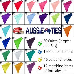 MENS-POCKET-SQUARE-wedding-formal-plain-handkerchief-hanky-CHOOSE-COLOUR
