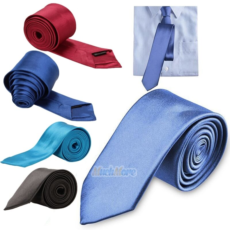 Casual Solid Plain Classic Skinny 100% New Silk Woven Slim Necktie Men