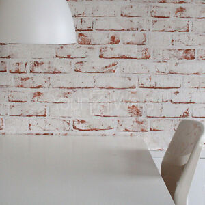 Sale white painted reclaimed brick wallpaper white red for Brick wallpaper sale