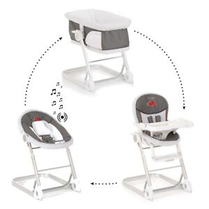 I'coo bassinet, musical bouncy chair, and high chair combo