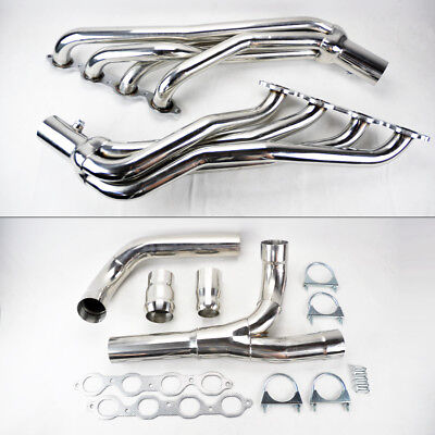 Long Tube Stainless Steel Headers w/ Y Pipe Fits Chevy GMC 14-17 5.3L 6.2L