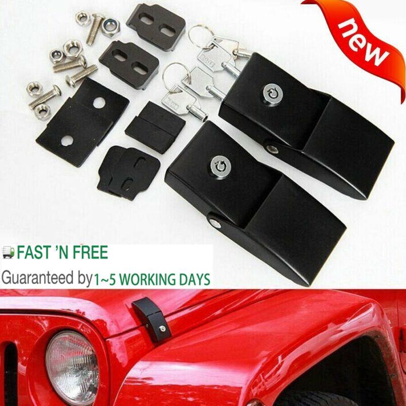 Steel Hood Lock Locking Hood Catch With Keys for Jeep Wrangler JK JKU 2007-2017