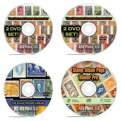 33,000 Printable Stamp Album Pages, 224 Vintage Postage Stamp Books, 4 DVD F084