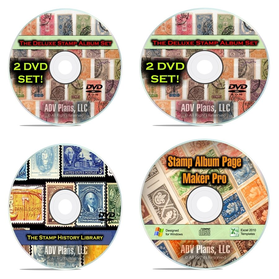 33,000 Printable Stamp Album Pages, 224 Vintage Postage Stamp Books, 4 DVD F084