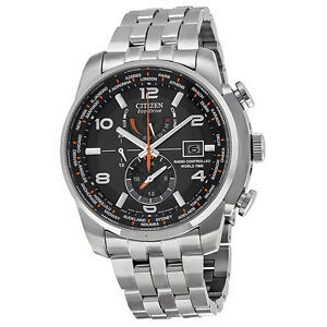 Citizen Eco Drive Black Dial Stainless Steel Mens Watch AT9010-52E JD5CJP