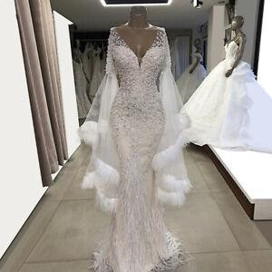 39b6ef7adaf67 White/Ivory Feather Beaded Mermaid Wedding Dress V Neck Long Sleeve Bridal  Gown