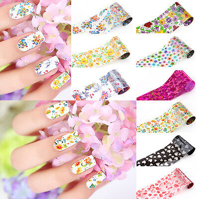 (Colorful Flower Pattern Design Nail Art Foil Transfer Sticker DIY Manicures Tool)