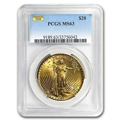 20 Saint Gaudens Gold Double Eagle Ms 63 Pcgs  Random
