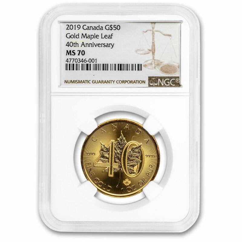 2019 Canada 1 oz Gold Maple Leaf 40th Anniversary MS-70 NGC - SKU#213558