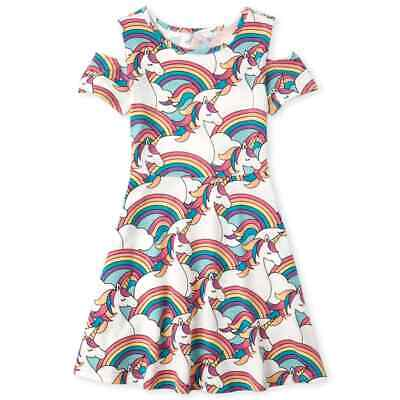 NWT The Childrens Place Unicorn Girls Cold Shoulder Dress 7-8 10-12 14 16