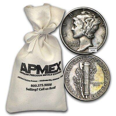90% Silver Mercury Dime $50 Face-Value Bag Avg Circ - SKU #88199
