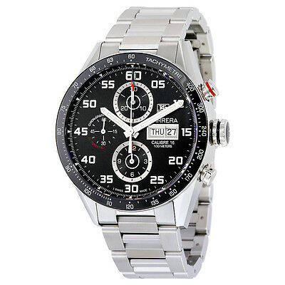 Tag Heuer Carrera Automatic Chronograph Black Dial Stainless Steel Mens Watch
