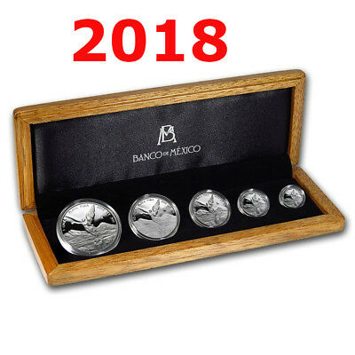 2018 5 Coin Mexican LIBERTAD Proof Set COA Wood Box 1 oz 1/2 oz 1/4 oz 1/10 1/20