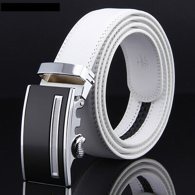Men White Leather Belts Automatic Belt Buckle Fashion Designer Jeans Waist Belt
