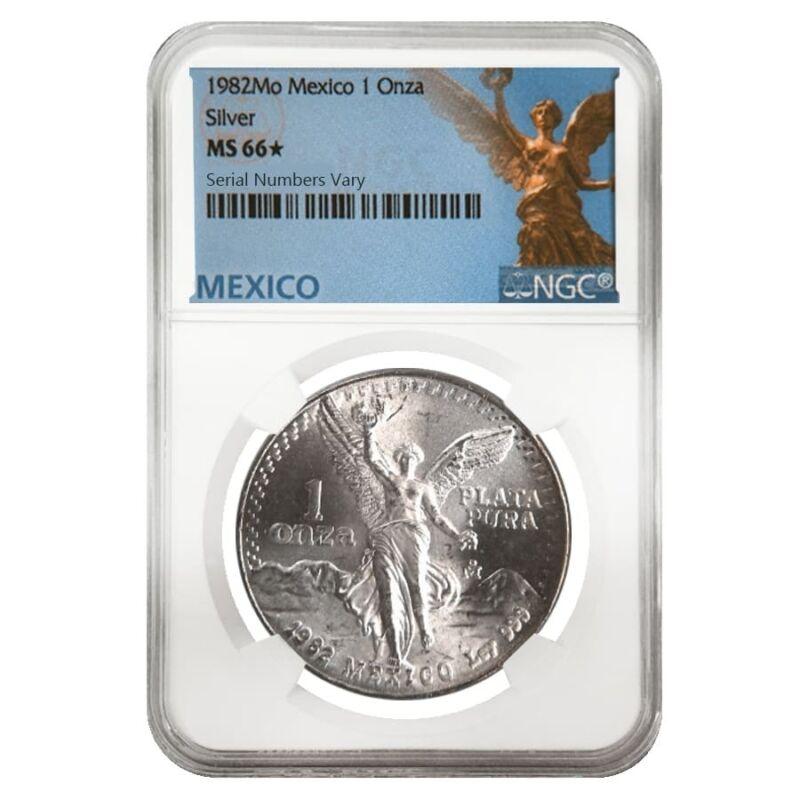1982 1 oz Silver Mexican Libertad NGC MS66*
