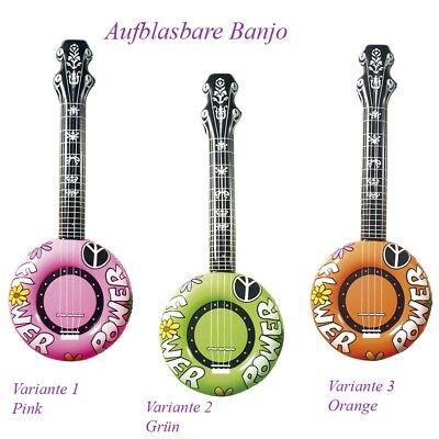 AUFBLASBARE BANJO Karneval Party Kostüm Deko Gitarre 70er Jahre Hippie # 2395