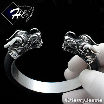 BIKER MEN Stainless Steel 12mm Silver/Black Dragon Heads Leather Adjust Bracelet