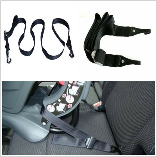 Black Universal Autos Baby Seat Strap Dual Hook Latch/Isofix Seatbelt Connector