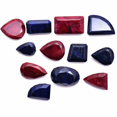 882 Ct/12 Pcs Natural Red Ruby & Blue Sapphire Faceted Cut Loose Gemstones Lot