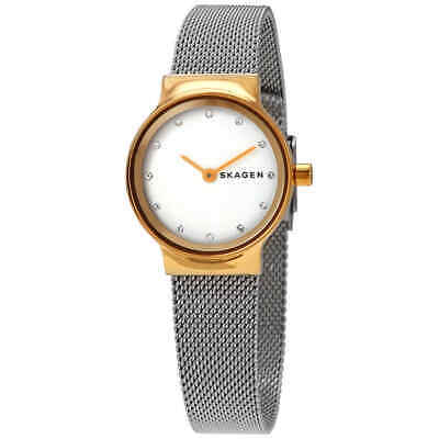 Skagen Freja White Dial Ladies Two Tone Mesh Watch (Ladies Two Tone White Dial)