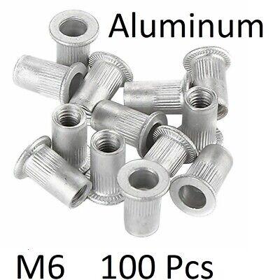 100 Pcs M6 Aluminum Flat Head Rivet Nut Insert Nutsert Silver Tone Usa Seller