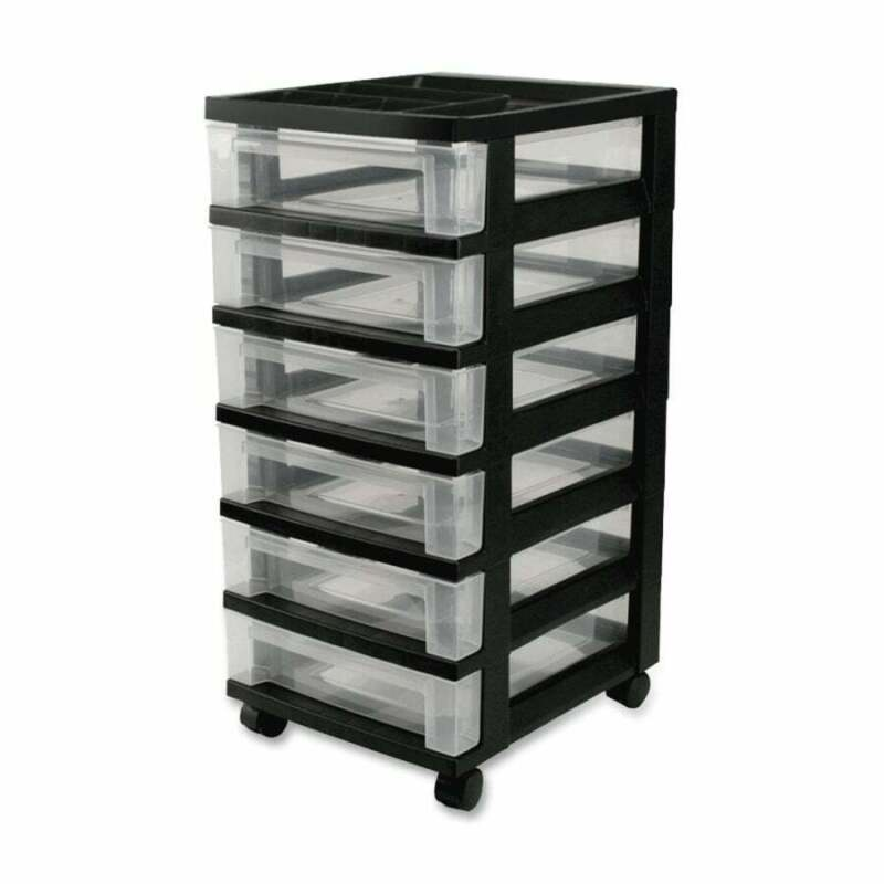 IRIS Medium 6-Drawer Cart with Organizer Top, Black