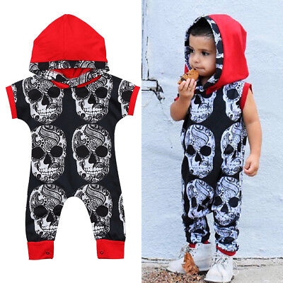 US Stock Toddler Baby Boy Clothes Halloween Cotton Hooded Romper Jumpsuit Outfit - Halloween Toddler Clothes