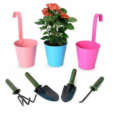 (Set of 7) Hanging Flower Pots with Detachable Handle and Garden Tools