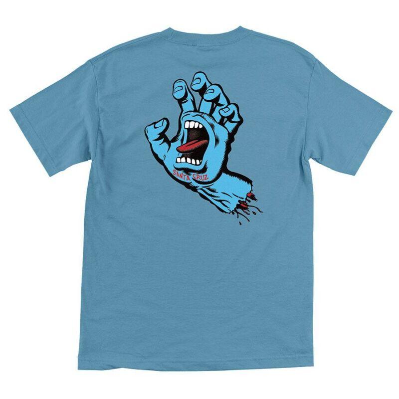 Santa Cruz SCREAMING HAND Skateboard T Shirt CAROLINA BLUE MEDIUM
